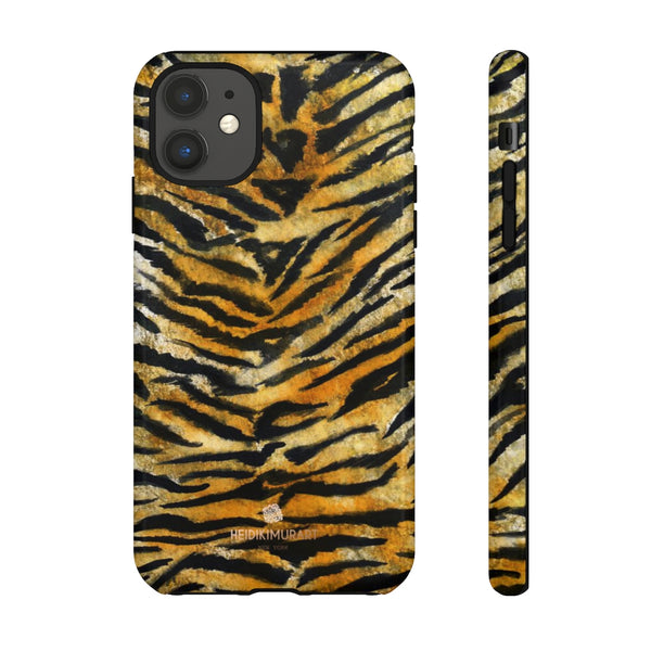 Tiger Stripe Print Phone Case, Animal Print Tough Designer Phone Case -Made in USA-Phone Case-Printify-iPhone 11-Glossy-Heidi Kimura Art LLC