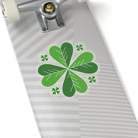 "Lucky Irish Style Green Clover Leaf Print St. Patrick's Day Kiss-Cut Stickers-Made in USA-Kiss-Cut Stickers-6x6""-Transparent-Heidi Kimura Art LLC"