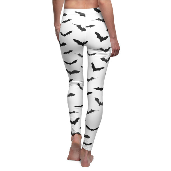 Bats Women's Casual Leggings, White Halloween Costume Cosplay Tights-Made in USA-Casual Leggings-Heidi Kimura Art LLC