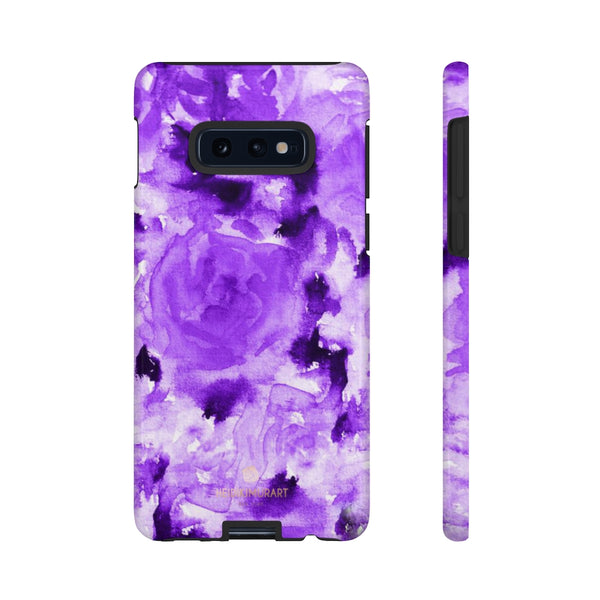 Purple Floral Rose Phone Case, Roses Floral Print Tough Designer Phone Case -Made in USA-Phone Case-Printify-Samsung Galaxy S10E-Glossy-Heidi Kimura Art LLC