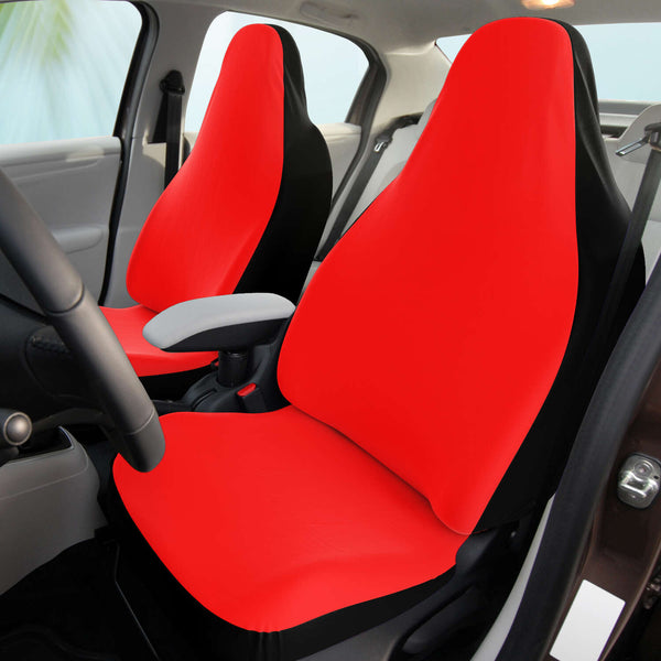 Red Car Seat Cover, Solid Red Colour Designer Bestselling Modern Minimalist Basic Essential Premium Quality Best Machine Washable Microfiber Luxury Car Seat Cover - 2 Pack For Your Car Seat Protection, Cart Seat Protectors, Car Seat Accessories, Pair of 2 Front Seat Covers, Custom Seat Covers