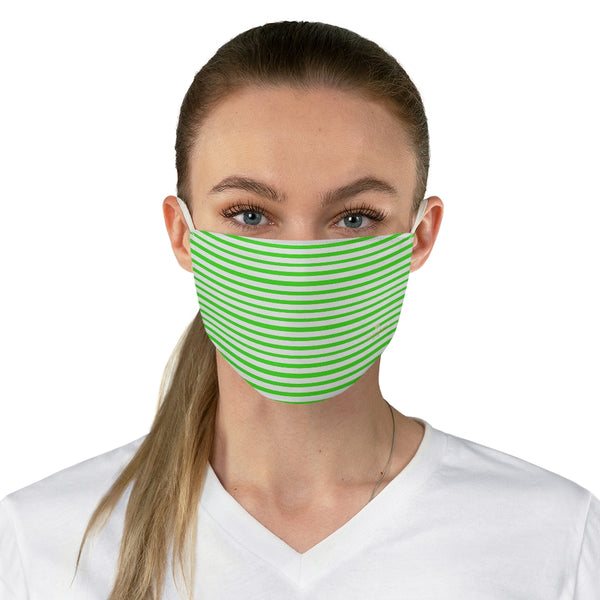"Green Horizontally Striped Face Mask, Designer Horizontally Stripes Fashion Face Mask For Men/ Women, Designer Premium Quality Modern Polyester Fashion 7.25"" x 4.63"" Fabric Non-Medical Reusable Washable Chic One-Size Face Mask With 2 Layers For Adults With Elastic Loops-Made in USA"