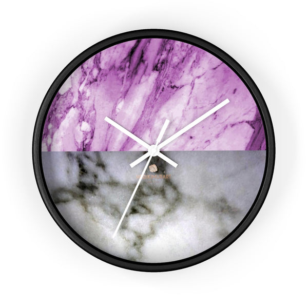 "Pink White Marble Print Art Large Indoor Designer 10"" dia. Wall Clock-Made in USA-Wall Clock-10 in-Black-White-Heidi Kimura Art LLC"