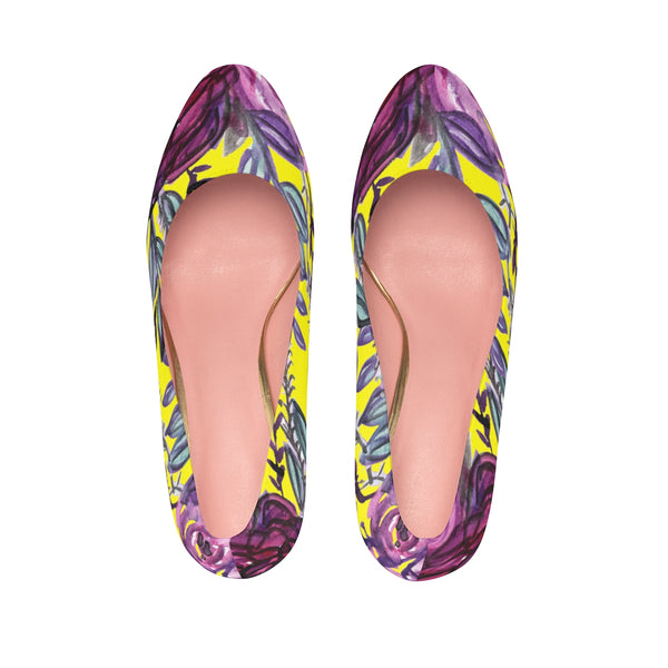 "Yellow Purple French Vintage-Style Rose Floral Print Women's 4"" Platform Heels-4 inch Heels-Heidi Kimura Art LLC"