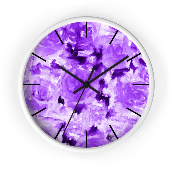 Purple Rose Floral Print 10 inch Diameter Modern Unique Wall Clock - Made in USA-Wall Clock-White-Black-Heidi Kimura Art LLC