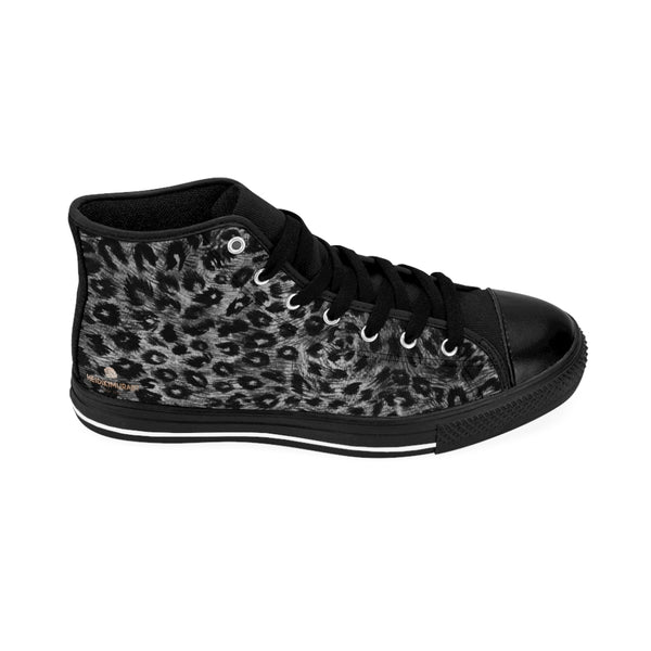 Black Leopard Men's Tennis Shoes, Animal Print Designer Best High-top Sneakers For Men-Shoes-Printify-Heidi Kimura Art LLC