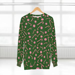 Dark Green Red Candy Cane Print Christmas Holiday Unisex Sweatshirt - Made in USA-Unisex Sweatshirt-L-Heidi Kimura Art LLC