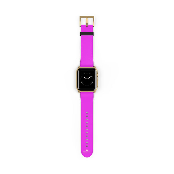 Hot Pink Solid Color Solid Color 38mm/42mm Watch Band For Apple Watches- Made in USA-Watch Band-38 mm-Gold Matte-Heidi Kimura Art LLC