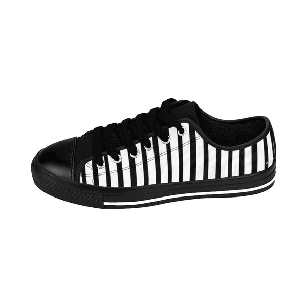 Black White Striped Women's Sneakers, Modern Low Top Running Shoes-Shoes-Printify-Heidi Kimura Art LLC Black White Striped Women's Sneakers, Modern Simple Women's Striped Sneakers, Classic Modern Stripes Low Tops, Designer Low Top Women's Sneakers Tennis Shoes (US Size: 6-12)