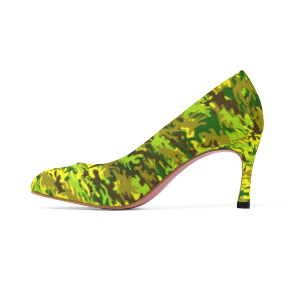 Yellow Green White Camo Military Army Print Premium Women's High Heels Shoes-3 inch Heels-Heidi Kimura Art LLC