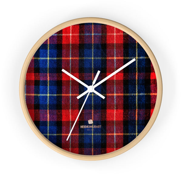 Classic Red Plaid Pattern London Calling Modern 10 in. Diameter Wall Clock-Made in USA-Wall Clock-10 in-Wooden-White-Heidi Kimura Art LLC