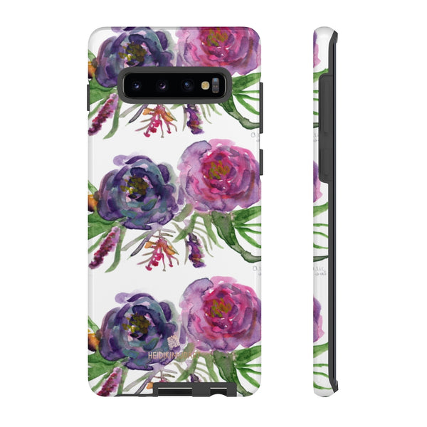 Pink Floral Print Phone Case, Roses Tough Designer Phone Case -Made in USA-Phone Case-Printify-Samsung Galaxy S10 Plus-Glossy-Heidi Kimura Art LLC