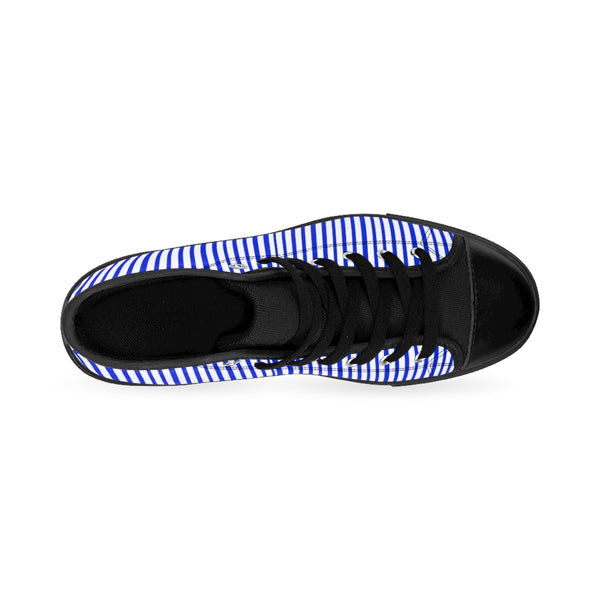 Blue Striped Men's High-top Sneakers, Modern Stripes Men's Designer Tennis Running Shoes-Shoes-Printify-Heidi Kimura Art LLCBlue Striped Men's High-top Sneakers, Blue White Modern Stripes Men's High Tops, High Top Striped Sneakers, Striped Casual Men's High Top For Sale, Fashionable Designer Men's Fashion High Top Sneakers, Tennis Running Shoes (US Size: 6-14)