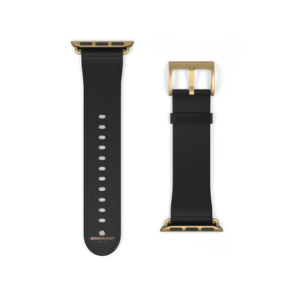 Black Solid Color Print 38mm/ 42mm Watch Band Strap For Apple Watches- Made in USA-Watch Band-38 mm-Gold Matte-Heidi Kimura Art LLC