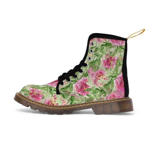 Pink French Rose Floral Print Designer Women's Winter Lace-up Toe Cap Boots-Women's Boots-Brown-US 10-Heidi Kimura Art LLC