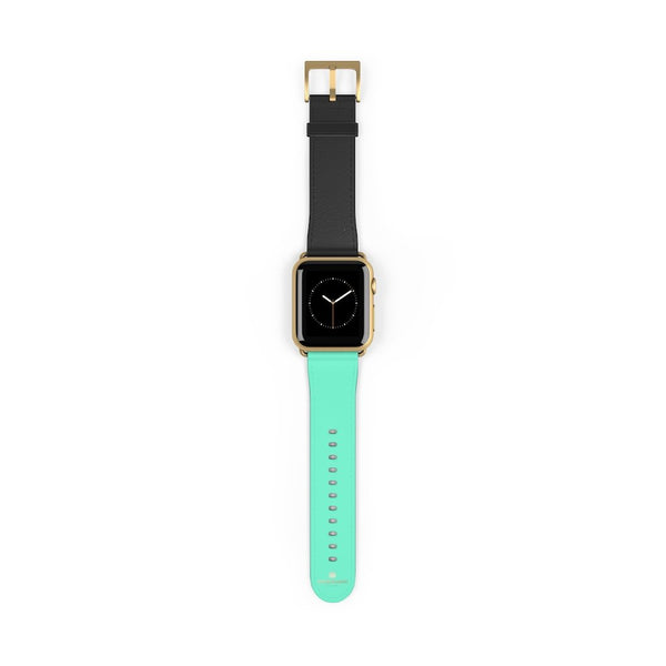 Dual Color Black & Light Blue 38mm/ 42mm Watch Band For Apple Watch- Made in USA-Watch Band-38 mm-Gold Matte-Heidi Kimura Art LLC