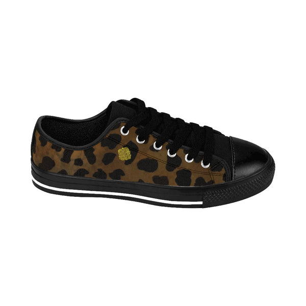 Brown Leopard Cheetah Animal Print Lightweight Men's Fashion Canvas Sneakers Shoes-Men's Low Top Sneakers-Heidi Kimura Art LLC Brown Leopard Men's Sneakers, Brown Leopard Cheetah Animal Print Premium Lightweight Men's Fashion Canvas Sneakers Shoes (US Size: 6.5-14)