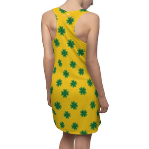 Yellow Green Clover Leaf Print St. Patty's Day Long Women's Racerback Dress-Made in USA-Women's Sleeveless Dress-2XL-Heidi Kimura Art LLC