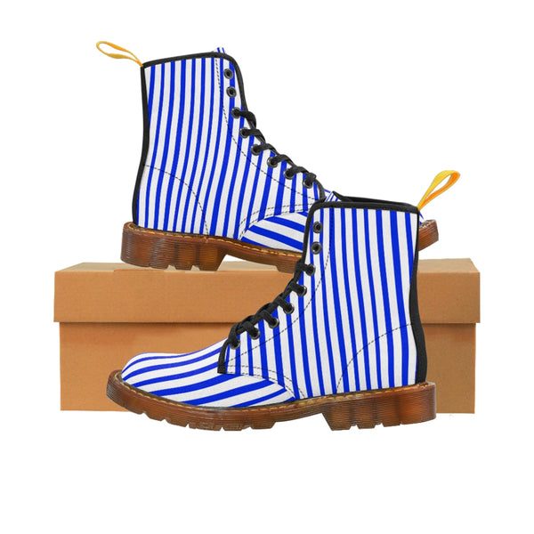 Blue Striped Print Men's Boots, Blue White Stripes Best Hiking Winter Boots Laced Up Shoes For Men-Shoes-Printify-Brown-US 8-Heidi Kimura Art LLC