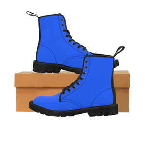 Blue Solid Color Print Men's Canvas Winter Laced Up Anti Heat+Moisture Boots Shoes-Men's Boots-Black-US 9-Heidi Kimura Art LLC Blue Men's Hiking Boots, Blue Solid Color Print Men's Canvas Winter Bestseller Premium Quality Laced Up Boots Anti Heat + Moisture Designer Men's Winter Boots (US Size: 7-10.5)