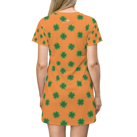 Orange Green Clover Print St. Patrick's Day Women's Long T-Shirt Dress- Made in USA-T-Shirt Dress-L-Heidi Kimura Art LLC