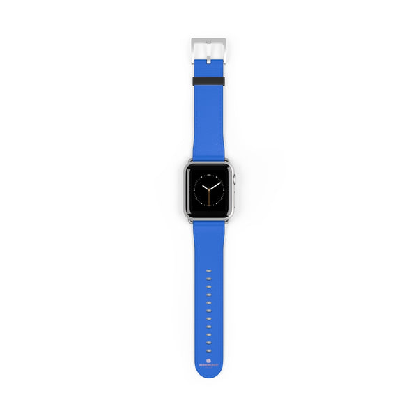 Blue Solid Color 38mm/42mm Watch Band Strap For Apple Watches- Made in USA-Watch Band-38 mm-Silver Matte-Heidi Kimura Art LLC