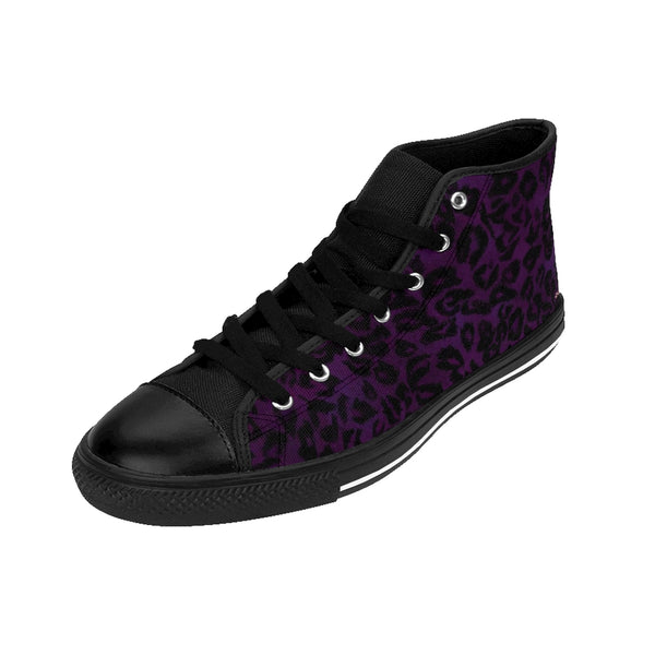 Purple Leopard Women's Sneakers, Animal Print Designer High-top Fashion Tennis Shoes-Shoes-Printify-Heidi Kimura Art LLC