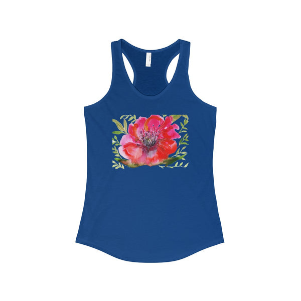 Red Designer Best Floral Women's Ideal Racerback Tank - Made in the USA-Tank Top-Solid Royal-XS-Heidi Kimura Art LLC