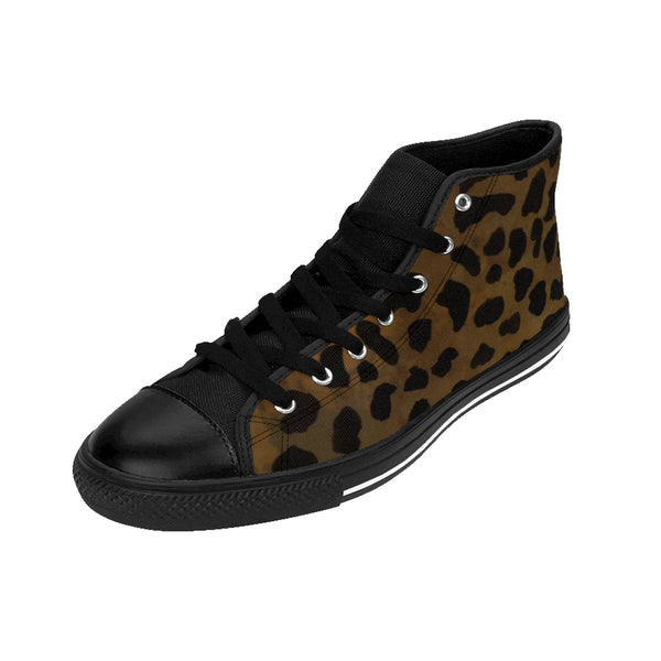 Brown Leopard Animal Print Premium Lightweight Women's High-top Fashion Sneakers-Women's High Top Sneakers-Heidi Kimura Art LLC