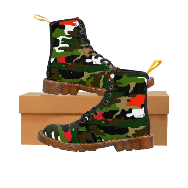 Green Red Camouflage Military Army Print Men's Canvas Winter Laced Up Boots-Men's Boots-Brown-US 8-Heidi Kimura Art LLC