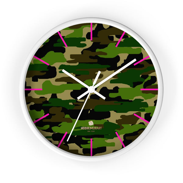Green Camouflage Camo Army Military Print 10 in. Dia. Indoor Wall Clock- Made in USA-Wall Clock-10 in-White-White-Heidi Kimura Art LLC