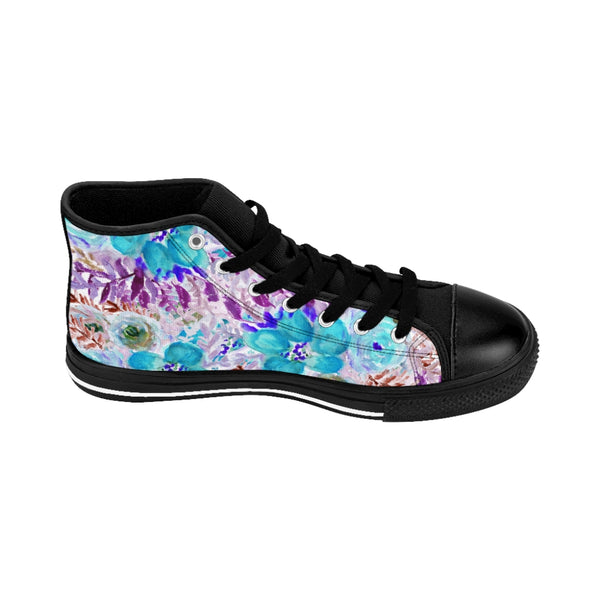 Blue Floral Women's Sneakers, Flower Print Designer High-top Sneakers Tennis Shoes-Shoes-Printify-Black-US 9-Heidi Kimura Art LLC