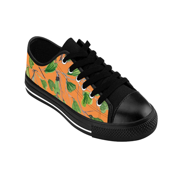 Orange Green Maidenhair Print Men's Sneakers, Best Tropical Leaf Print Men's Low Top Tennis Shoes-Shoes-Printify-Heidi Kimura Art LLC