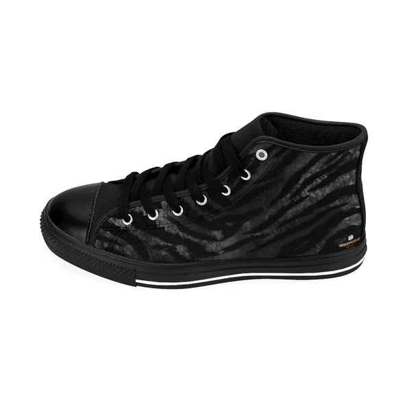 Black Tiger Striped Animal Print Women's High Top Sneakers Running Tennis Shoes-Women's High Top Sneakers-Heidi Kimura Art LLC