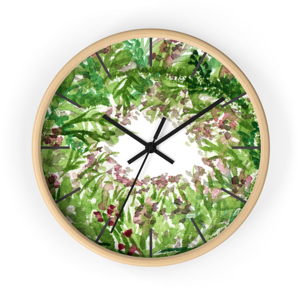 Purple French Lavender Floral Print 10 inch Diameter Wall Clock - Made in USA-Wall Clock-Wooden-Black-Heidi Kimura Art LLC