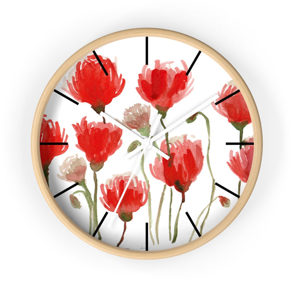 Orange Red Tulips Floral Print 10 inch Diameter Flower Large Wall Clock- Made in USA-Wall Clock-10 in-Wooden-White-Heidi Kimura Art LLC