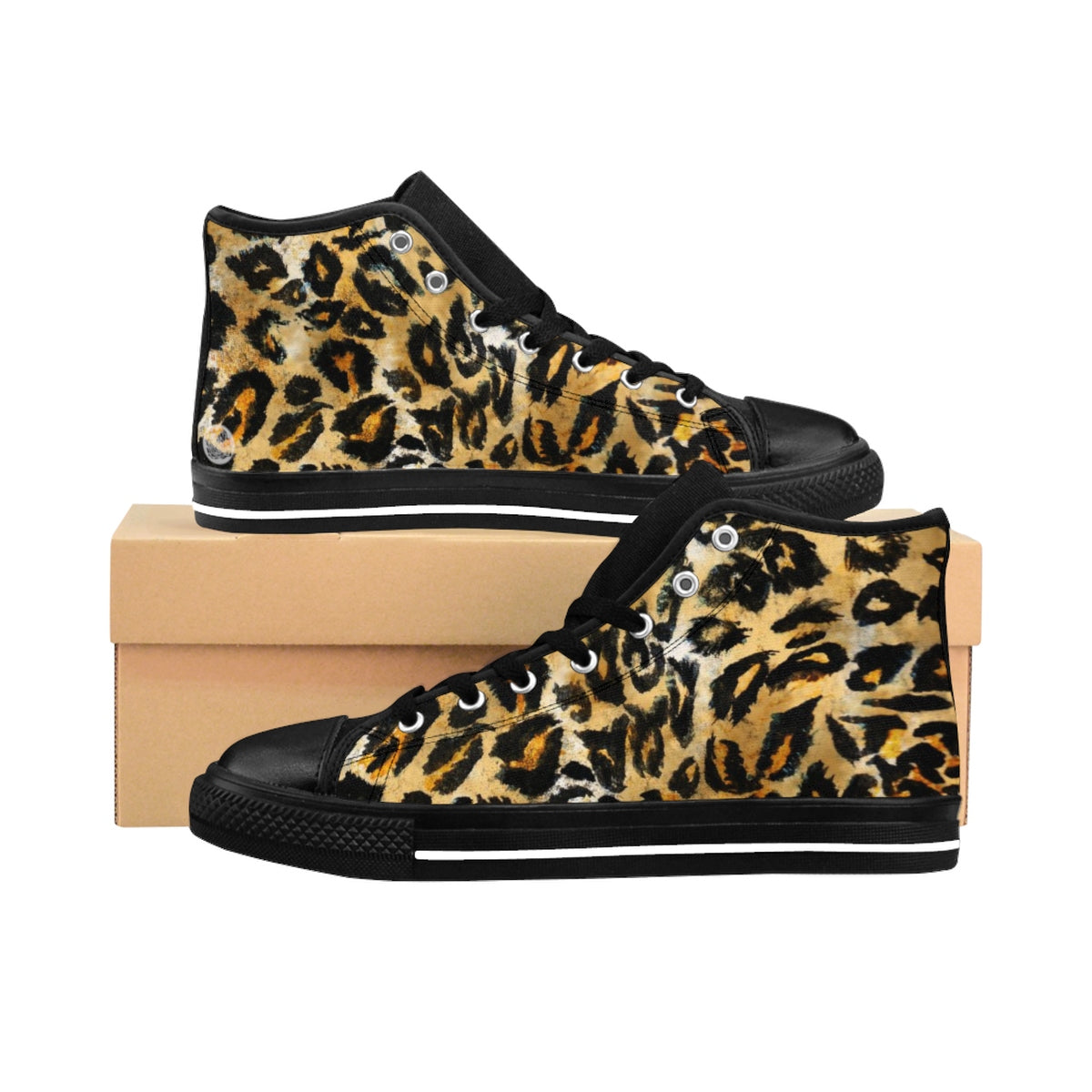 Brown Snow Leopard Print Men's Sneakers, Leopard Animal Print Men's High Top Sneakers-Men's High Top Sneakers-US 9-Heidi Kimura Art LLC