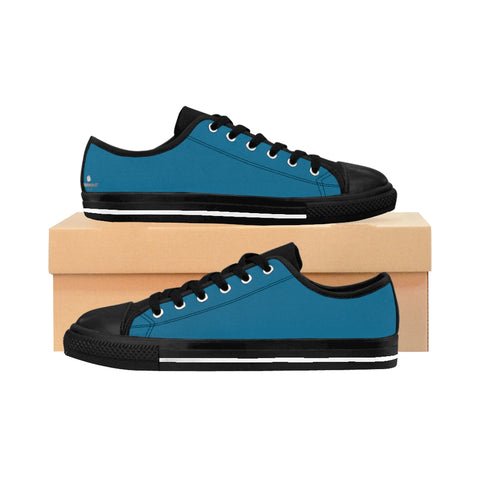 Teal Blue Solid Color Designer Low Top Women's Fashion Sneakers (US Size: 6-12)-Women's Low Top Sneakers-US 10-Heidi Kimura Art LLC