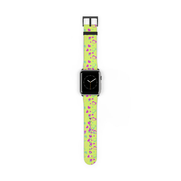 Light Green Pink Hearts Shaped Print Premium 38mm/ 42mm Watch Band- Made in USA-Watch Band-42 mm-Black Matte-Heidi Kimura Art LLC
