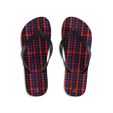 Red Blue Tartan Plaid Print Unisex Flip-Flops Sandals For Men or Women- Made in USA-Flip-Flops-Small-Heidi Kimura Art LLC