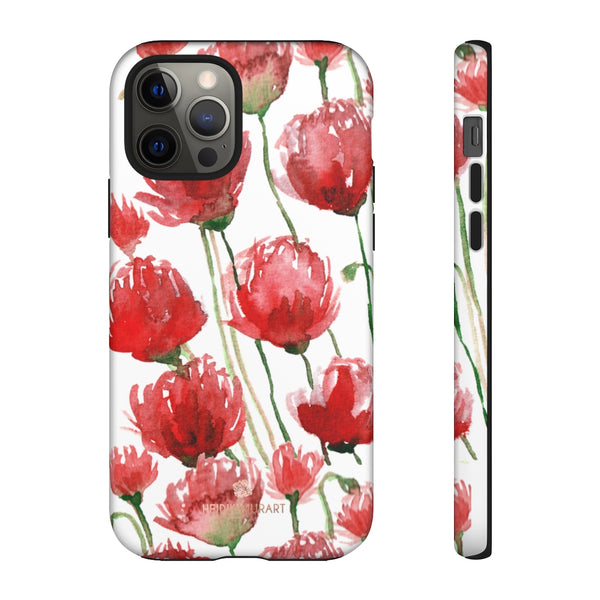 Red Tulips Floral Tough Cases, Roses Flower Print Best Designer Phone Case-Made in USA-Phone Case-Printify-iPhone 12 Pro-Matte-Heidi Kimura Art LLC