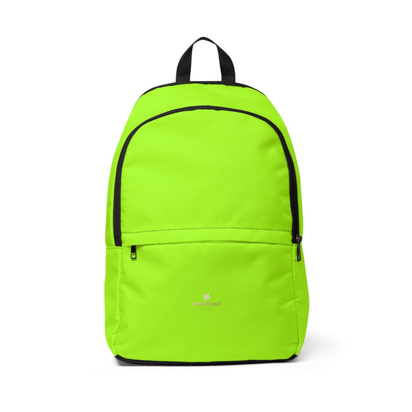 Gigi Bright Lime Green Solid Color Print Designer Unisex Fabric Backpack School Bag With Laptop Slot