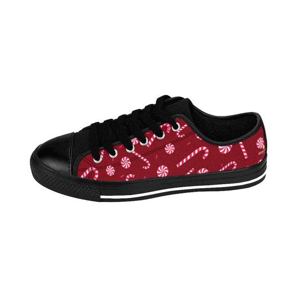 Burgundy Red White Candy Cane Christmas Print Men's Low Top Sneakers Tennis Shoes-Men's Low Top Sneakers-Heidi Kimura Art LLC