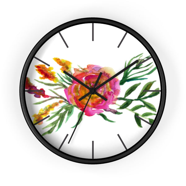 Pink Rose Watercolor Floral Print 10 inch Diameter Flower Wall Clock - Made in USA-Wall Clock-Black-Black-Heidi Kimura Art LLC