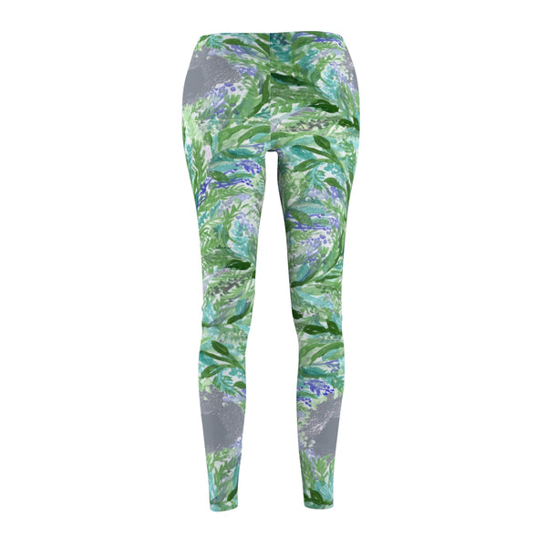 Gray French Lavender Floral Print Women's Designer Casual Leggings-Made in USA-Casual Leggings-Heidi Kimura Art LLC