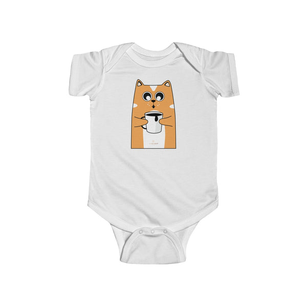 Orange Cat Loves Coffee Infant Fine Jersey Regular Fit Unisex Bodysuit - Made in UK-Infant Short Sleeve Bodysuit-White-NB-Heidi Kimura Art LLC
