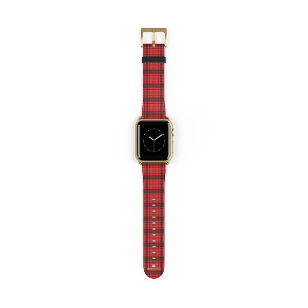 Scottish Red Tartan Plaid Print 38mm/42mm Watch Band For Apple Watch- Made in USA-Watch Band-38 mm-Gold Matte-Heidi Kimura Art LLC