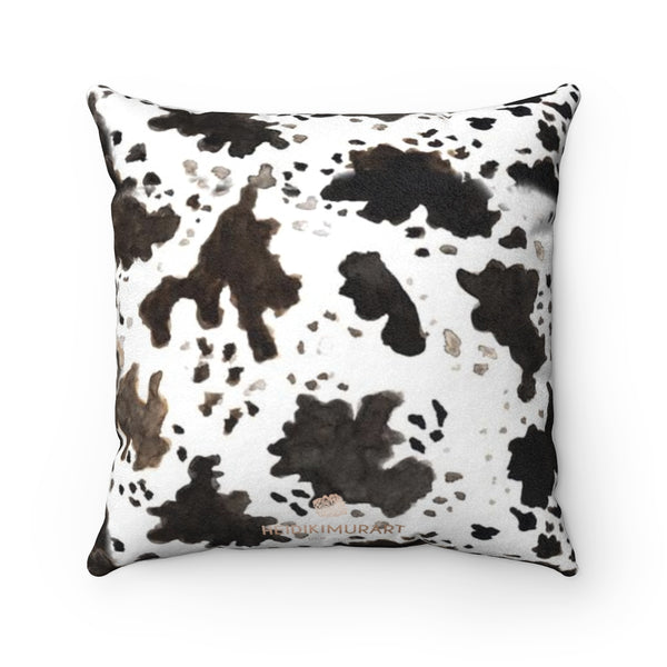 Cow Pattern Double Sided Print 100% Faux Suede Cover Square Pillow Pillow Included-Pillow-Heidi Kimura Art LLC