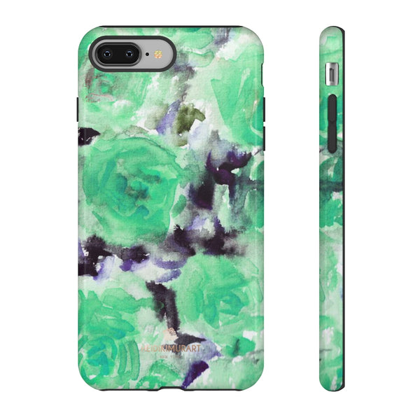 Turquoise Floral Print Tough Cases, Designer Phone Case-Made in USA-Phone Case-Printify-iPhone 8 Plus-Glossy-Heidi Kimura Art LLC