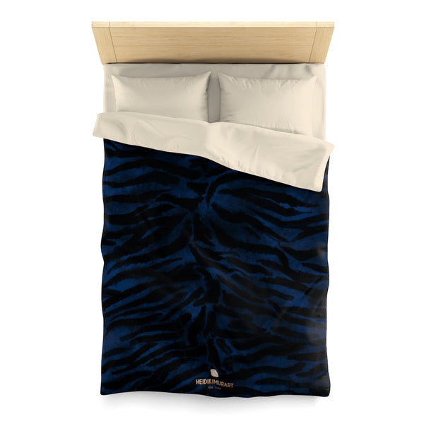 Blue Tiger Stripe Duvet Cover, Animal Print Queen/Twin Size Microfiber Cover-Made in USA-Duvet Cover-Twin-Cream-Heidi Kimura Art LLC